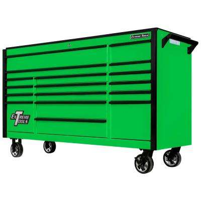DX Series 72 in. 17-Drawer Roller Cabinet Tool Chest with Mag Wheels in Green with Black Drawer Pulls