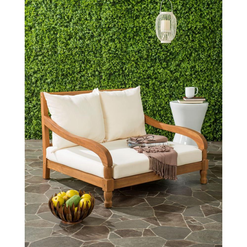 Safavieh Pomona Teak Brown Outdoor Patio Lounge Chair with Beige Cushion