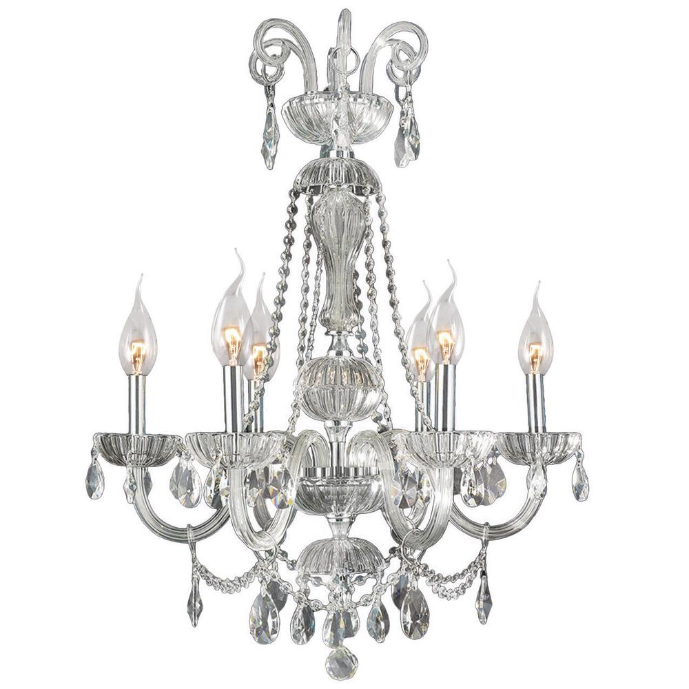 Carnivale 6-Light Polished Chrome and Clear Crystal Chandelier
