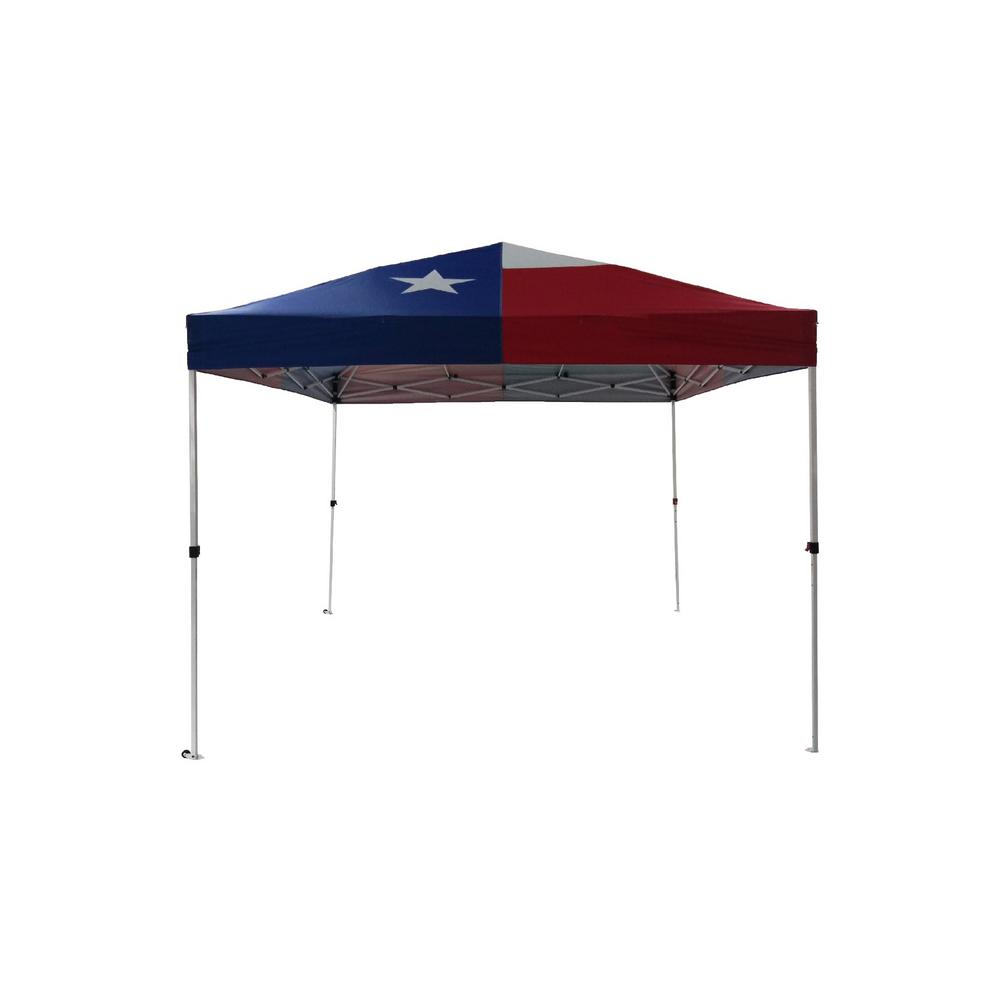 super popular bc513 a54ea Everbilt HD-TX100 10 ft. x. 10 ft. Red, White and Blue Texas Flag Instant  Canopy Pop Up Tent