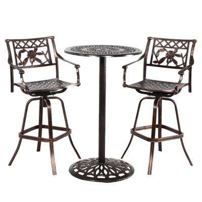 Grace 3-Piece Aluminum Outdoor Bar Height Dining Set