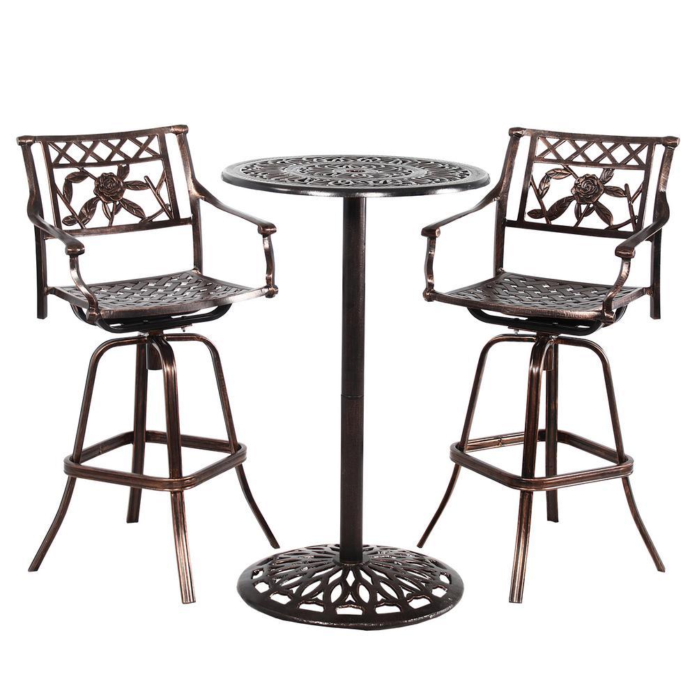 Grace 3 Piece Aluminum Outdoor Bar Height Dining Set Hd3023bt