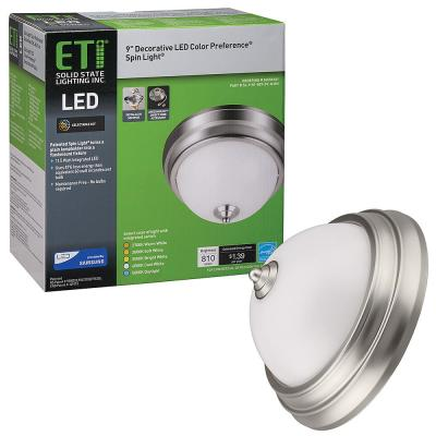 Spin Light 9 in. 11.5-Watts Brushed Nickel Color Changing 2700K to 5000K LED Flush Mount Ceiling Light Dimmable