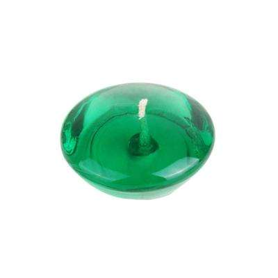 3 in. Clear Hunter Green Gel Floating Candles (6-Box)