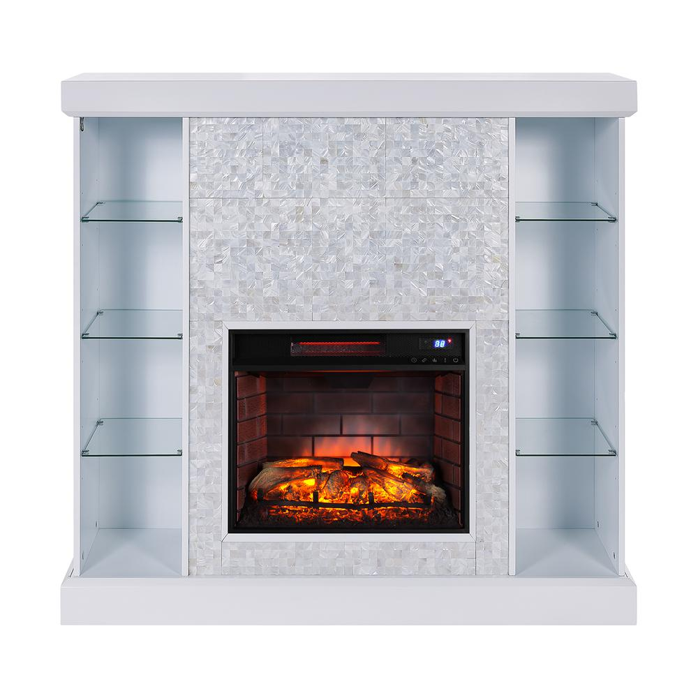 Mosaic Tiled Curio Infrared Electric Fireplace In White