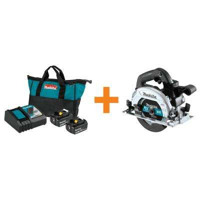 18-Volt LXT Battery and Rapid Optimum Charger Starter Pack (4.0 Ah) w/Bonus 18-Volt LXT Brushless 6-1/2 in. Circular Saw