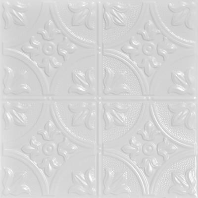 Tiptoe 2 ft. x 2 ft. Nail Up Tin Ceiling Tiles Surface Mount White (48 sq. ft./case)