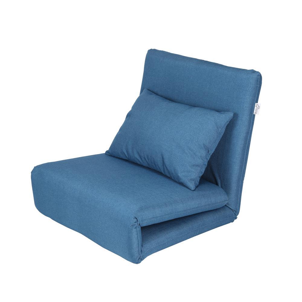 Fine Loungie Blue Relaxie Linen Convertible Flip Chair Floor Alphanode Cool Chair Designs And Ideas Alphanodeonline