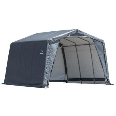 ShelterLogic 12 ft. W x 9.5 ft. H x 12 ft. D Grey Peak Style Shed-in-a-Box XT w/ Steel Frame and Patented Stabilizers