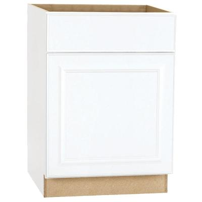 Hampton Assembled 24x34.5x24 in. Base Kitchen Cabinet with Ball-Bearing Drawer Glides in Satin White