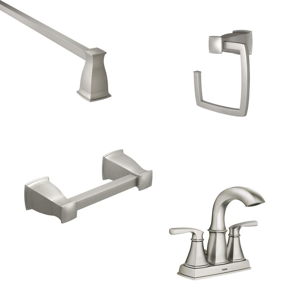 MOEN Hensley 4 in. Centerset 2-Handle Bathroom Faucet in Spot Resist Nickel with 3-Piece Bath Hardware Set