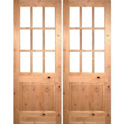72 in. x 96 in. Craftsman Knotty Alder 9-Lite Clear Glass Unfinished Wood Right Active Inswing Double Prehung Front Door