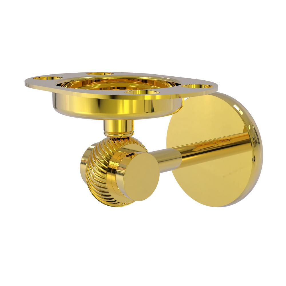 Allied Brass Satellite Orbit Two Collection Tumbler and Toothbrush Holder with Twisted Accents in Polished Brass