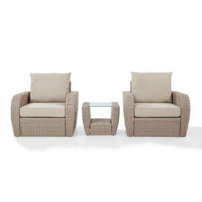 St Augustine 3-Piece Wicker Patio Outdoor Seating Set with Oatmeal Cushion - 2-Chairs, Side Table