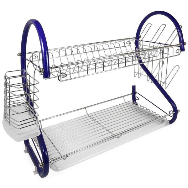 16 in. 2-Tier Blue Chrome Plated Standing Dish Rack