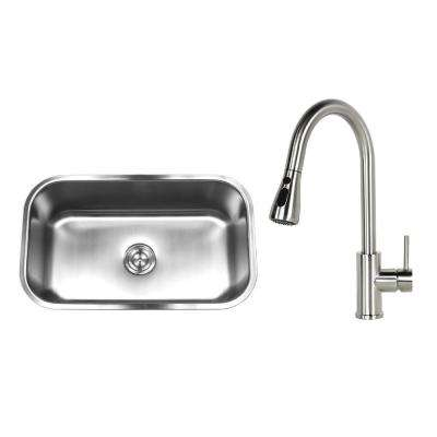 Undermount Stainless Steel 30 in. Single Bowl Kitchen Sink with Faucet and strainer Brushed Nickel