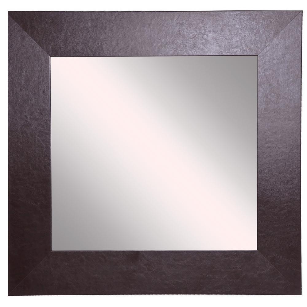 12 in. W x 12 in. H Framed Square Bathroom Vanity Mirror in Brown