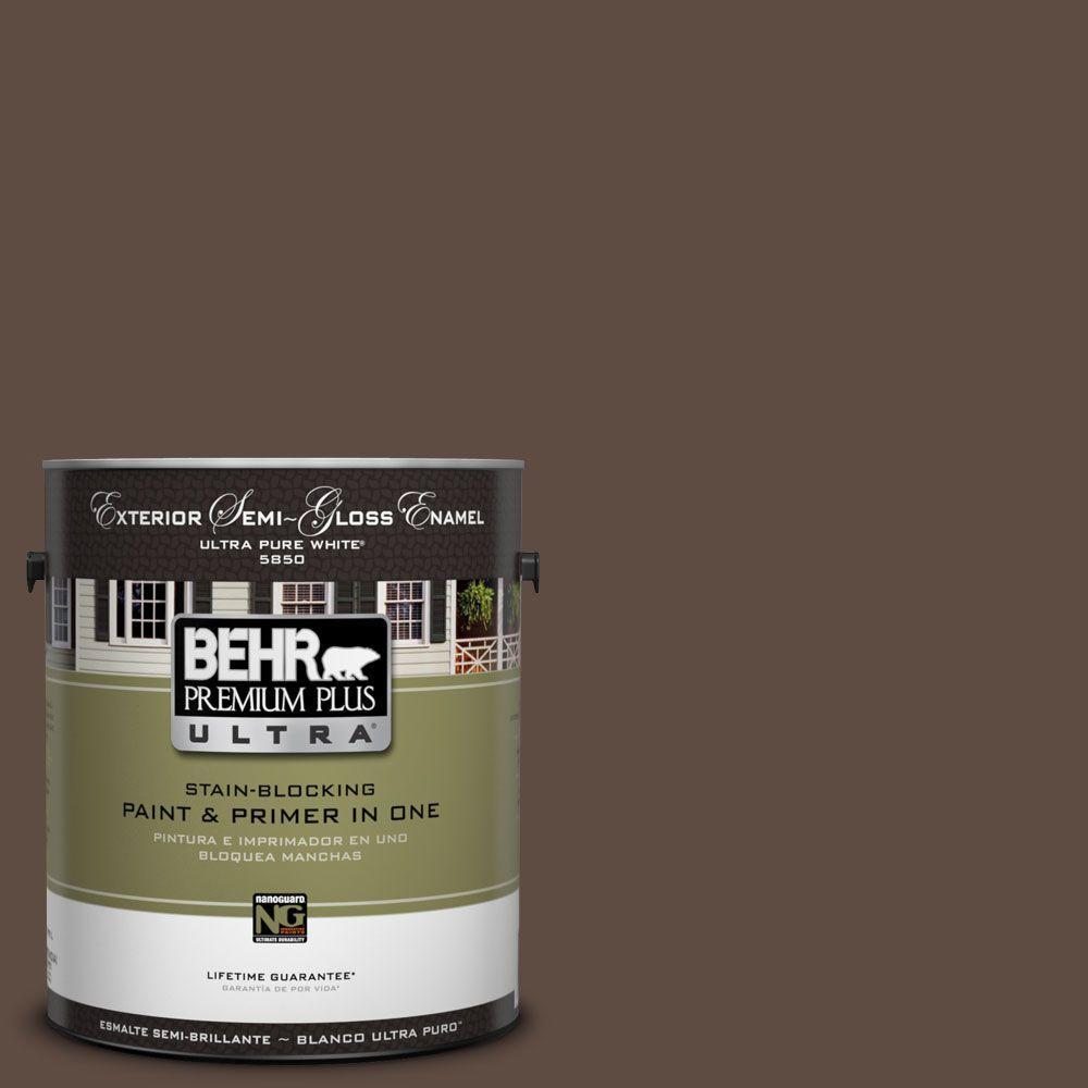 behr premium plus ultra 1 gal ul130 2 roasted nuts semi gloss enamel exterior paint 585301. Black Bedroom Furniture Sets. Home Design Ideas