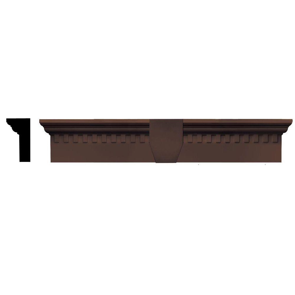 Builders Edge 2-5/8 in. x 6 in. x 33-5/8 in. Composite Classic Dentil Window Header with Keystone in 009 Federal Brown