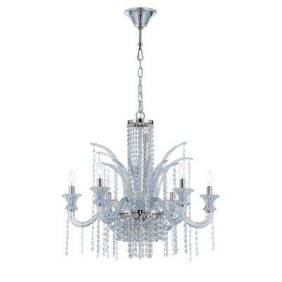 Nava Collection 11-Light Chrome and Ice Blue Chandelier with Crystal Shade