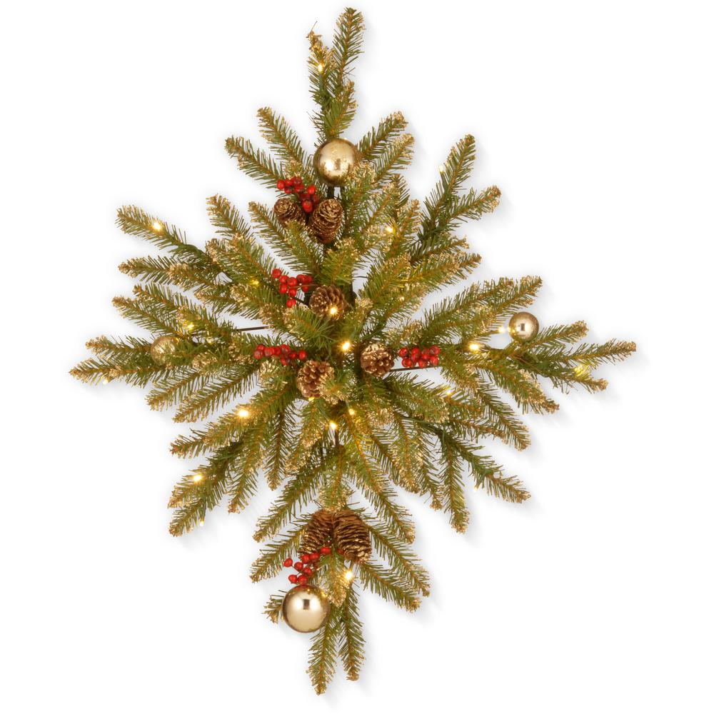 32 in. Glittery Gold Dunhill Fir Bethlehem Star with Battery Operated