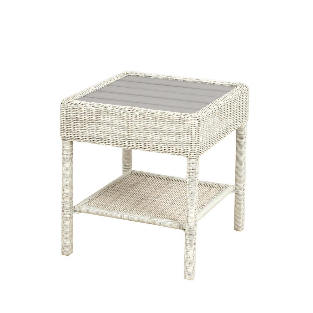 Park Meadows Off-White Wicker Outdoor Accent Table