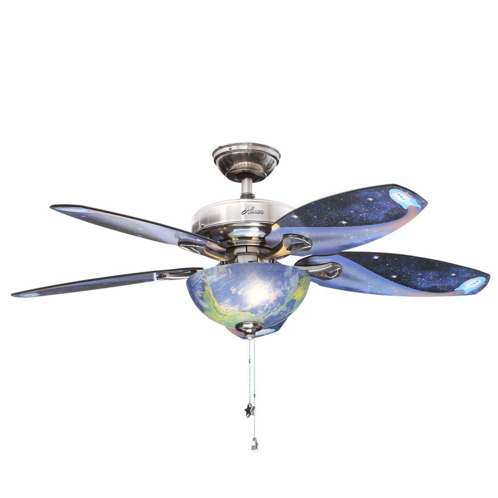 Hunter discovery 48 in indoor brushed nickel ceiling fan with hunter discovery 48 in indoor brushed nickel ceiling fan with light kit 52019 the home depot aloadofball Images