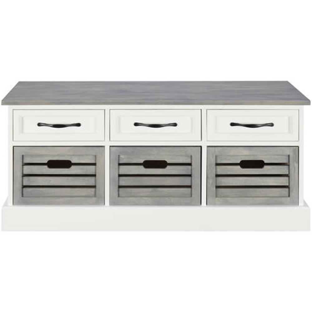 6-drawer Storage Bench White and Grey