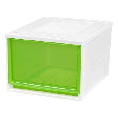 15.75 in. x 11.5 in. Deep Box Chest Drawer White with Green Drawers (3-Pack)
