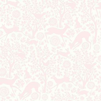Anahi Light Pink Forest Fauna Light Pink Paper Strippable Roll (Covers 56.4 sq. ft.)