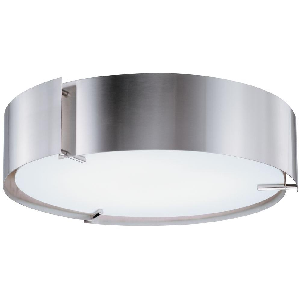 Lithonia Lighting Inertia 17 in. 55-Watt Polished Steel Flushmount