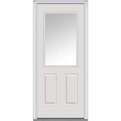 34 in. x 80 in. Left-Hand Inswing 1/2-Lite Clear 2-Panel Primed Fiberglass Smooth Prehung Front Door on 6-9/16 in. Frame