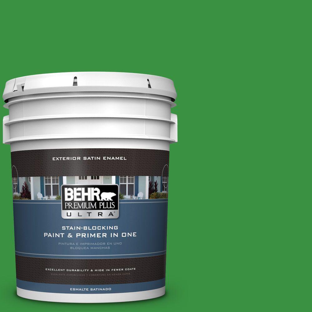 BEHR Premium Plus Ultra 5-gal. #440B-7 Par Four Green Satin Enamel Exterior Paint