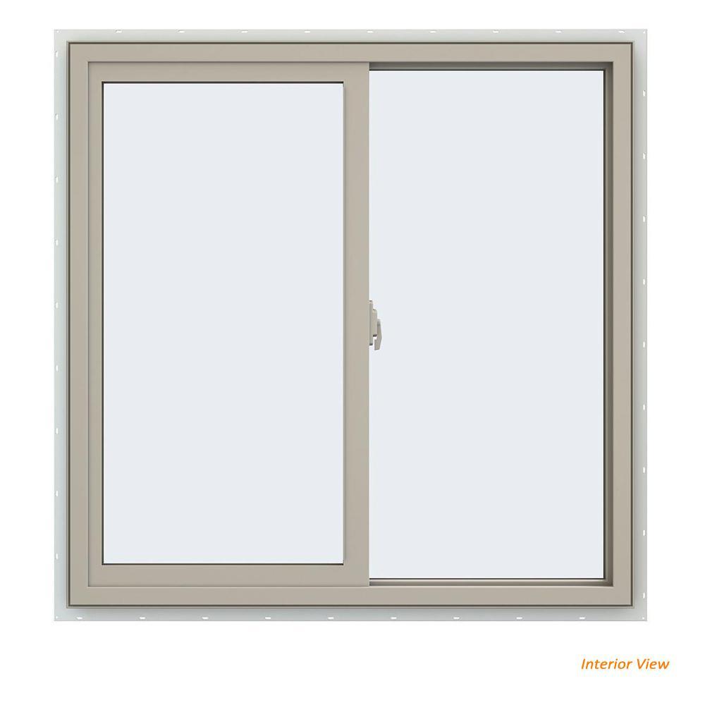 35.5 in. x 35.5 in. V-2500 Series Desert Sand Vinyl Right-Handed Sliding Window with Fiberglass Mesh Screen