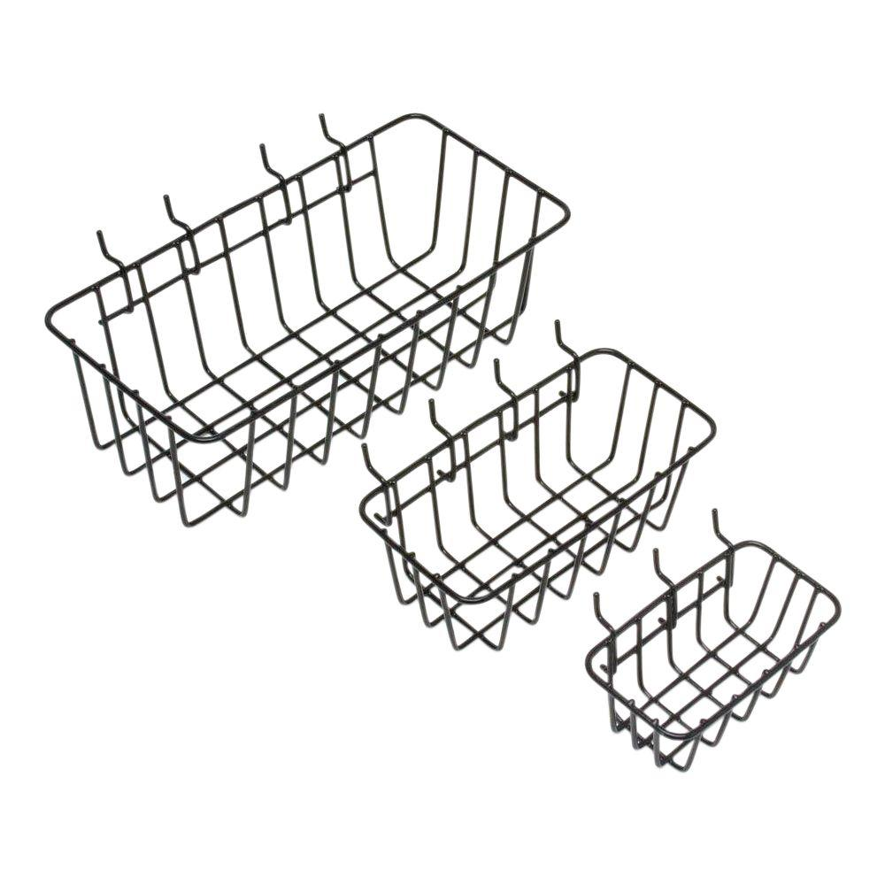Everbilt 1/8 in. 1-Compartment Small Part Organizer Peggable Wire Baskets (3-Pack)