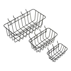 1/8 in. Peggable Wire Storage Baskets in Black (3-Pack)