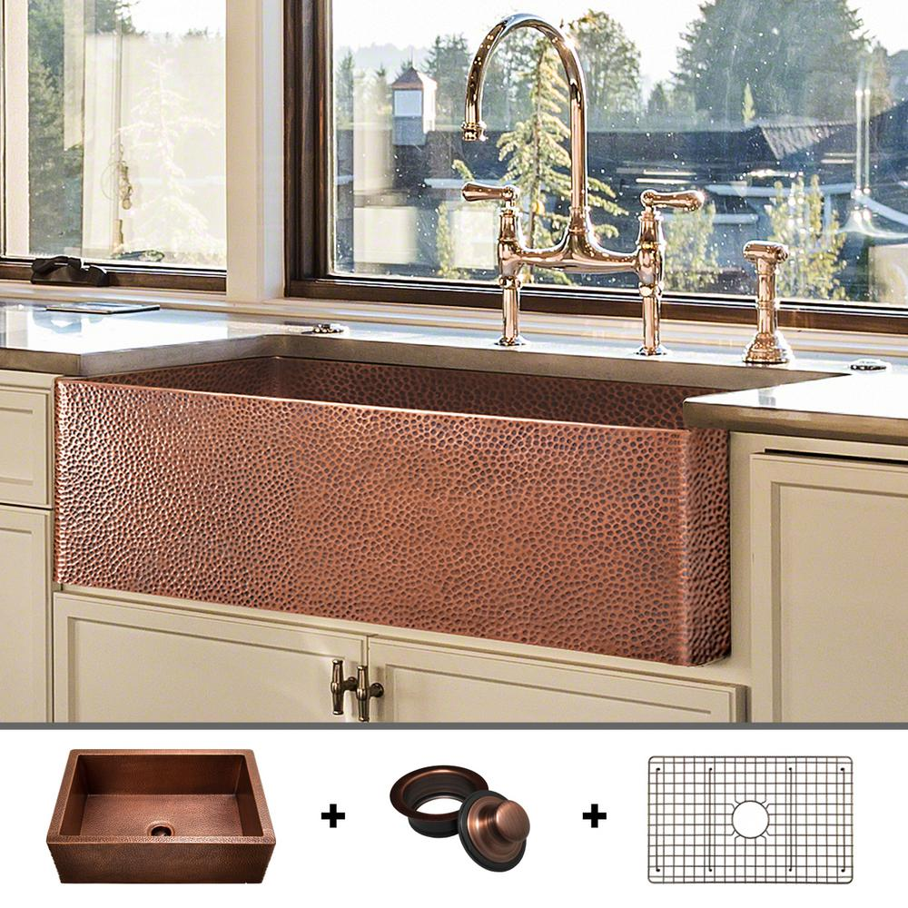 Fossil Blu Luxury 33 In Heavy 12 Gauge Copper Farmhouse Kitchen Sink Flat Front Single Bowl Includes Grid And