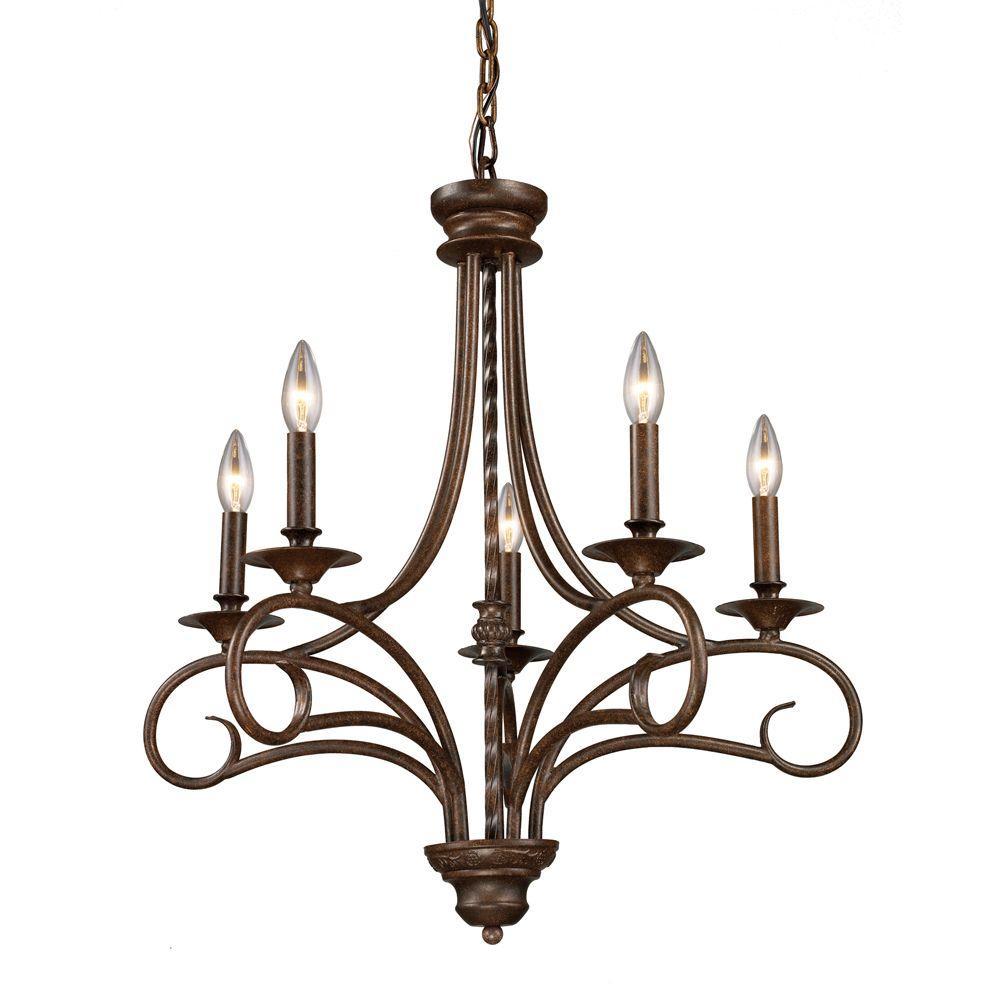 Gloucester 5-Light Antique Bronze Ceiling Chandelier