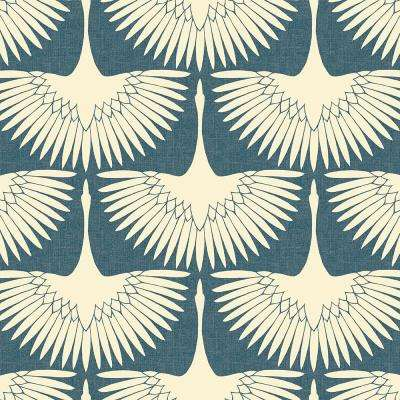 Feather Flock Denim Blue Vinyl Peelable Roll (Covers 28 sq. ft.)