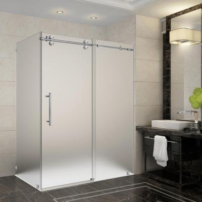 Langham 56 in. - 60 in x 33.8125 in. x 75 in. Frameless Sliding Shower Enclosure, Frosted Glass in Stainless Steel