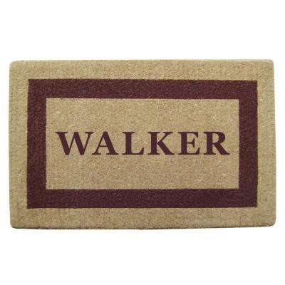 Single Picture Frame Brown 38 in. x 60 in. Heavy Duty Coir Personalized Door Mat