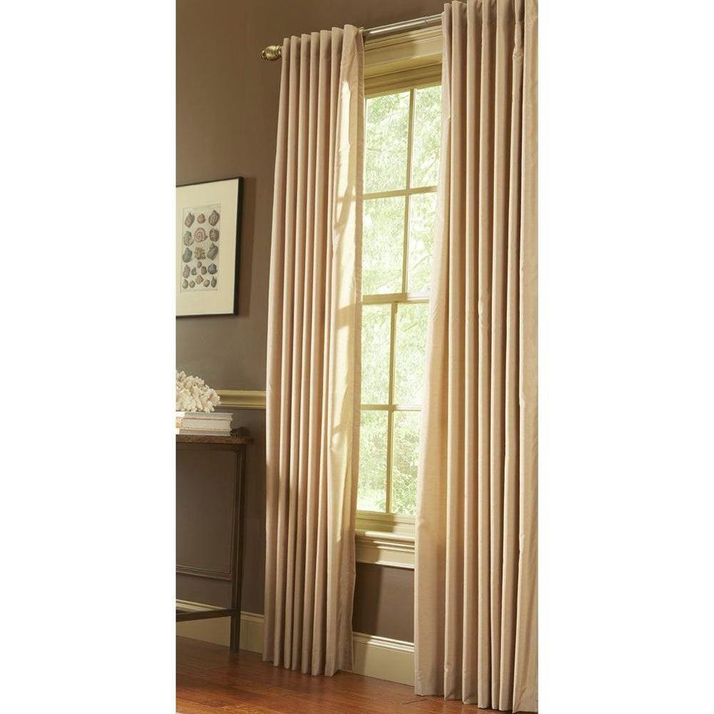 Semi-Opaque Carton Faux Silk Back Tab Curtain