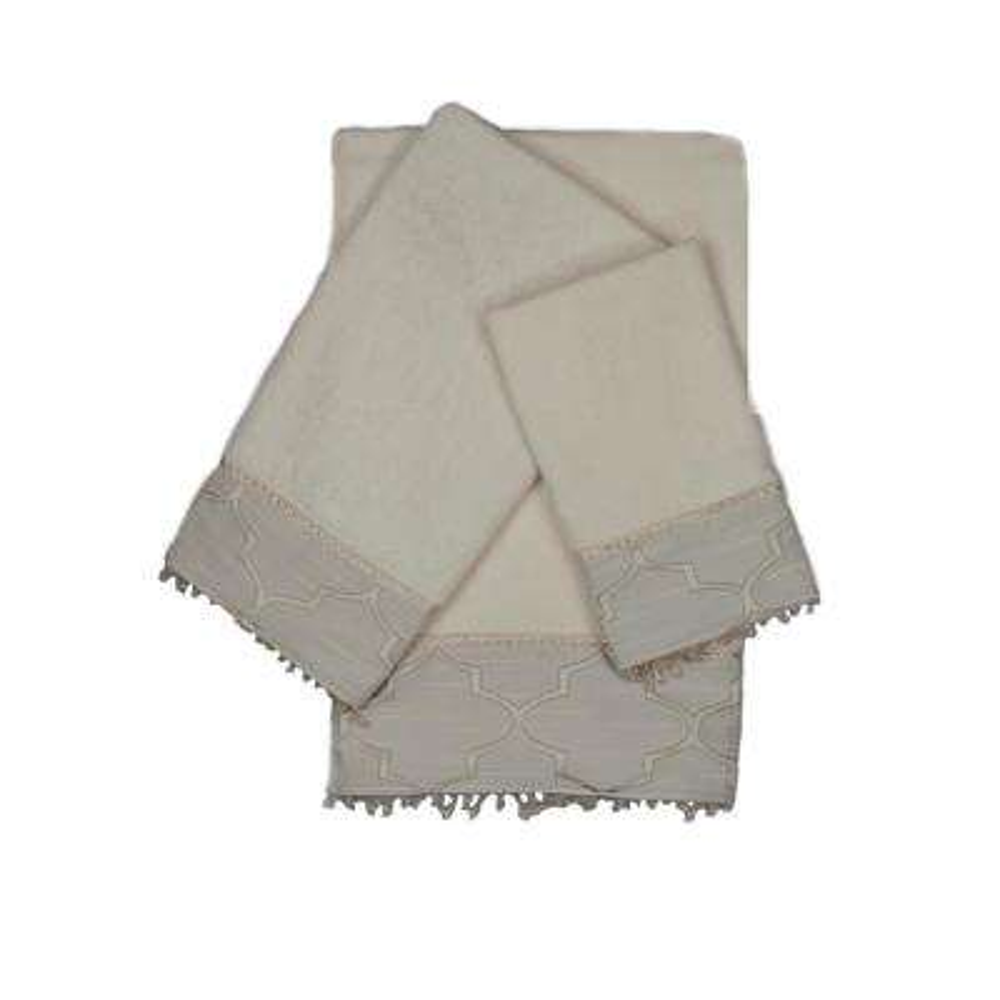 Stanton Beads Ecru Decorative Embellished Towel Set (3-Piece)