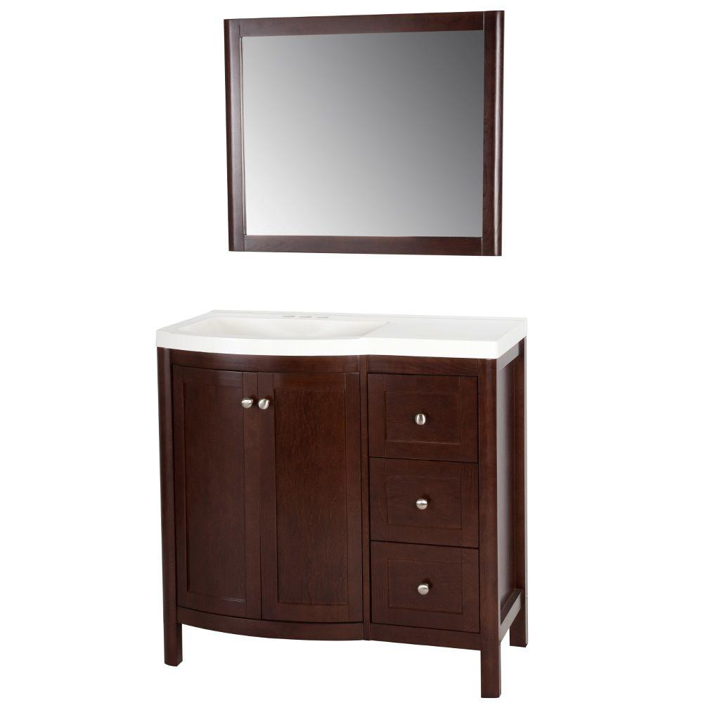St. Paul Madeline 36 in. Vanity in Chestnut with Alpine Vanity Top in White and Wall Mirror