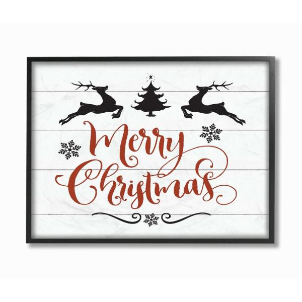Stupell Industries 16 In X 20 In Merry Christmas Elegant Reindeer Black White And Red By Artist Lettered And Lined Framed Wall Art Hwp 285 Fr 16x20 The Home Depot