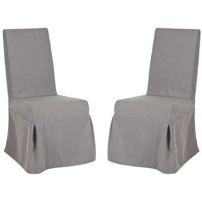 Adrianna Arctic Gray/Cherry Mahogany Cotton Blend Side Chair (Set of 2)