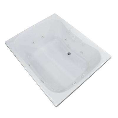 Rhode 5 ft. Rectangular Drop-in Whirlpool Bathtub in White