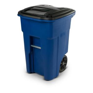 48 Gal. Blue Trash Can with Wheels and Attached Lid