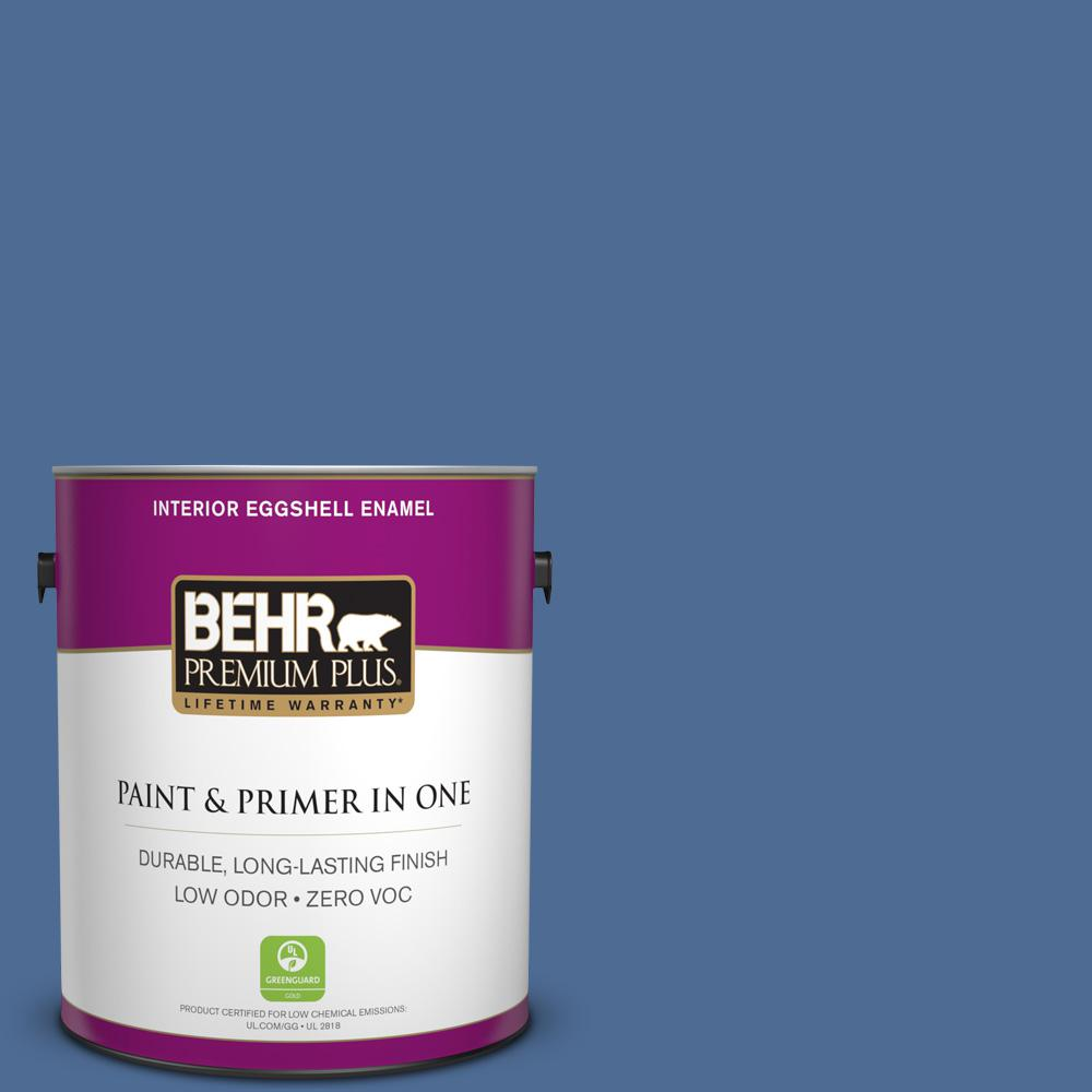 BEHR Premium Plus 1-gal. #M530-6 Charter Blue Eggshell Enamel Interior Paint