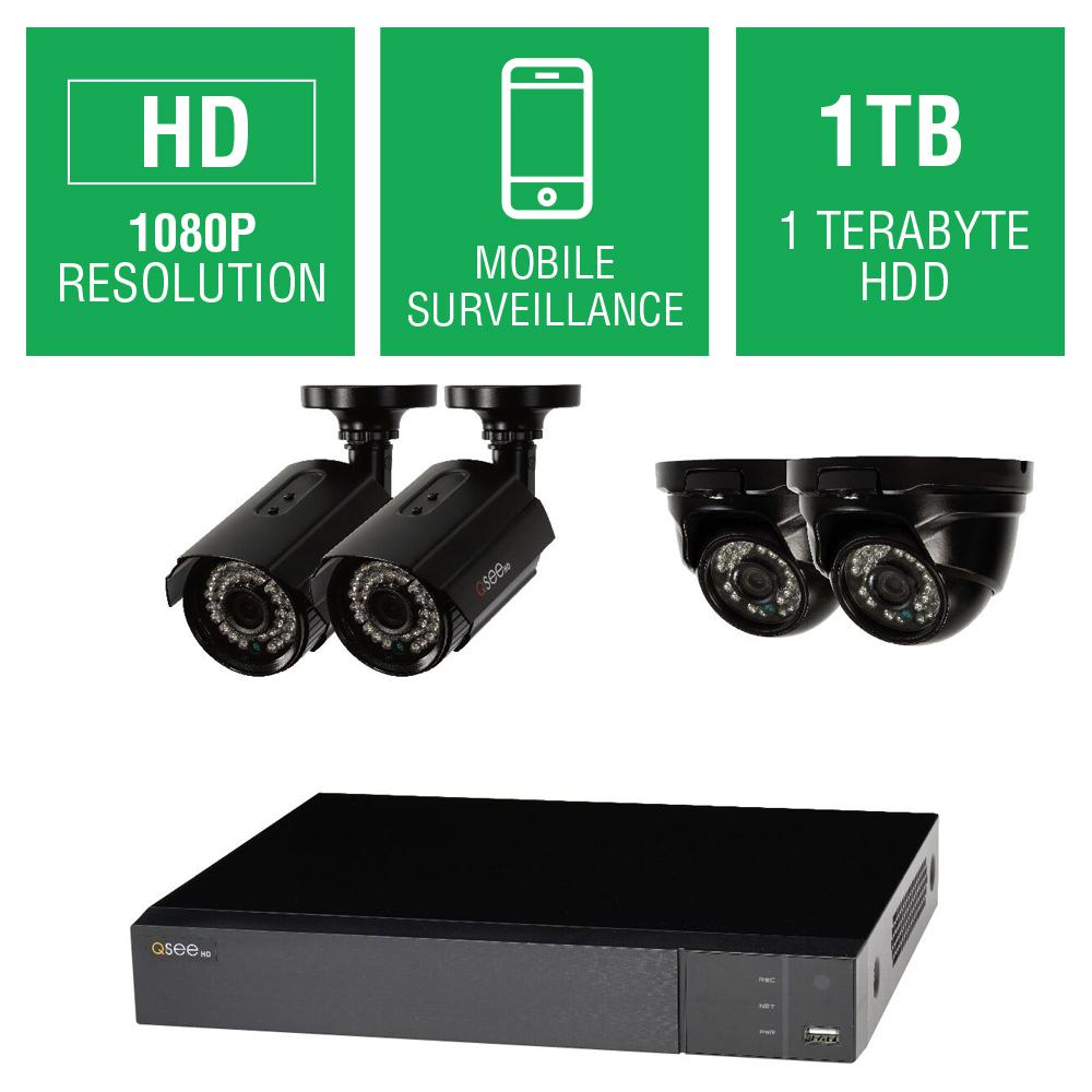 4-Channel 1080p 1TB Full HD Surveillance System with (2) 1080p Bullet